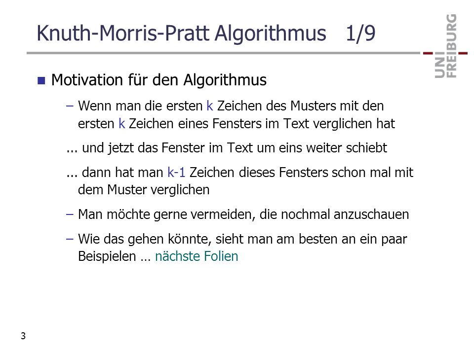 Knuth-Morris-Pratt Algorithmus 1/9