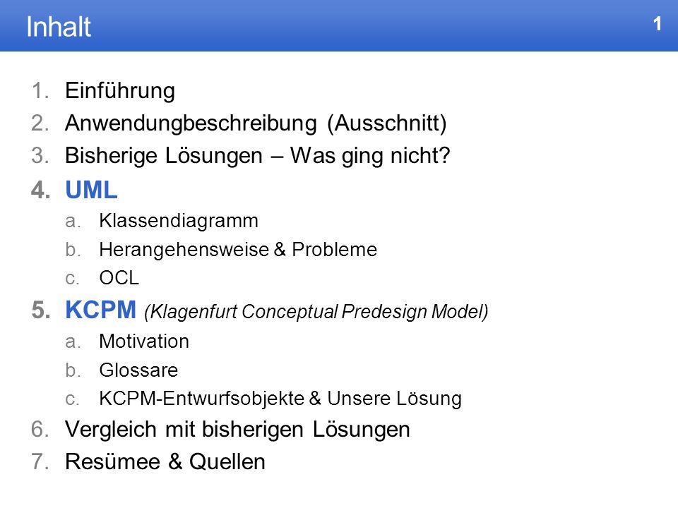 Inhalt UML KCPM (Klagenfurt Conceptual Predesign Model) Einführung