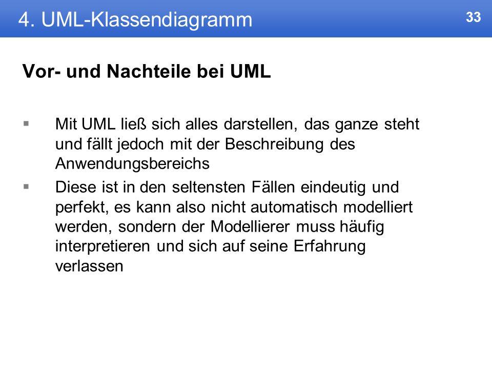 4. UML-Klassendiagramm Vor- und Nachteile bei UML