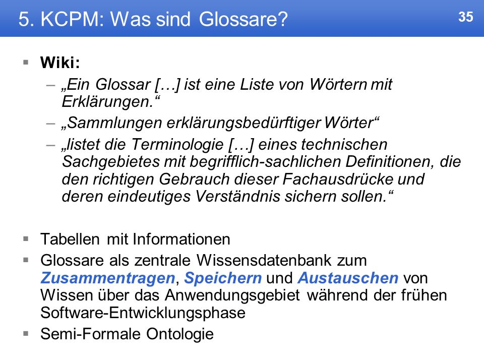 5. KCPM: Was sind Glossare