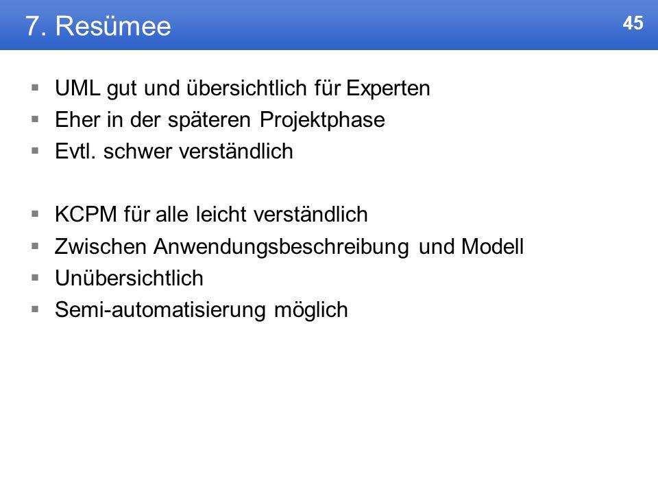 7. Resümee UML gut und übersichtlich für Experten
