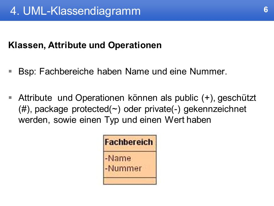 4. UML-Klassendiagramm Klassen, Attribute und Operationen