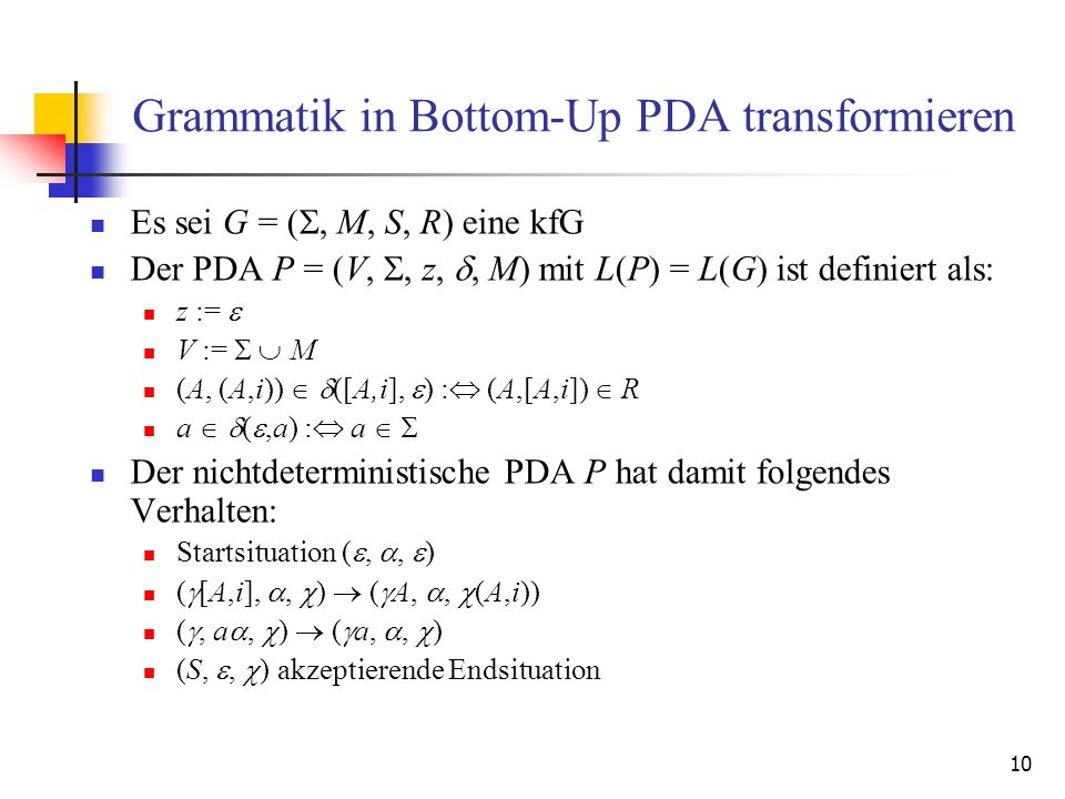 Grammatik in Bottom-Up PDA transformieren