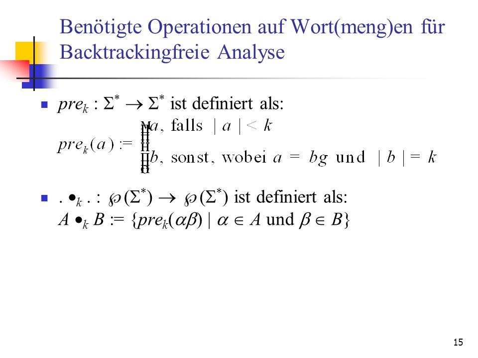 Benötigte Operationen auf Wort(meng)en für Backtrackingfreie Analyse