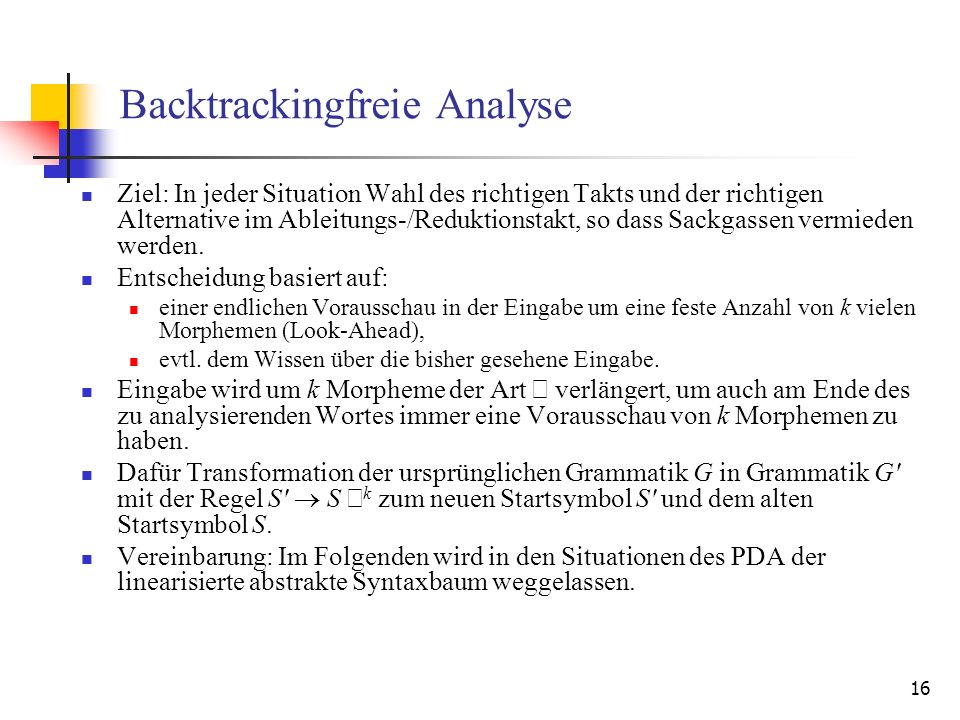 Backtrackingfreie Analyse