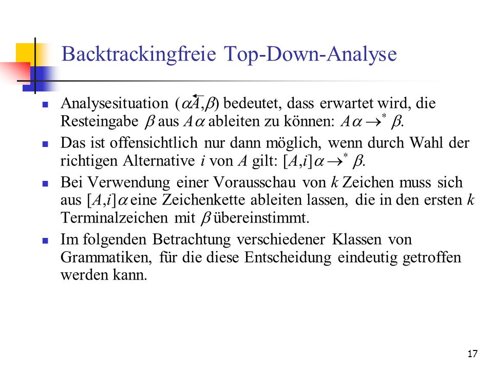 Backtrackingfreie Top-Down-Analyse