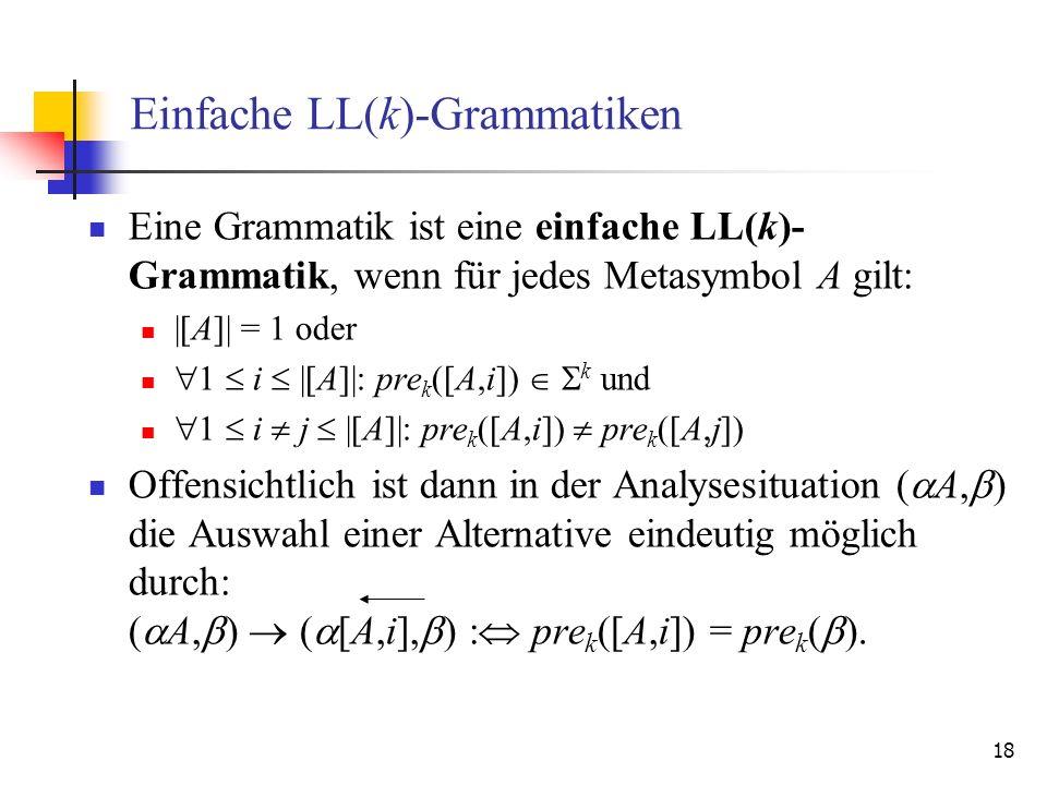 Einfache LL(k)-Grammatiken