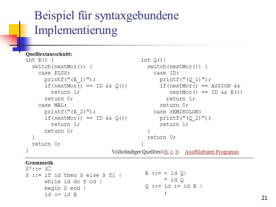 Beispiel für syntaxgebundene Implementierung