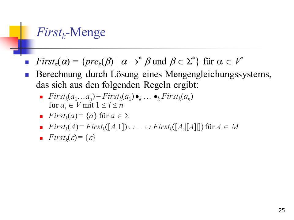 Firstk-Menge Firstk() = {prek() |  *  und   *} für   V*