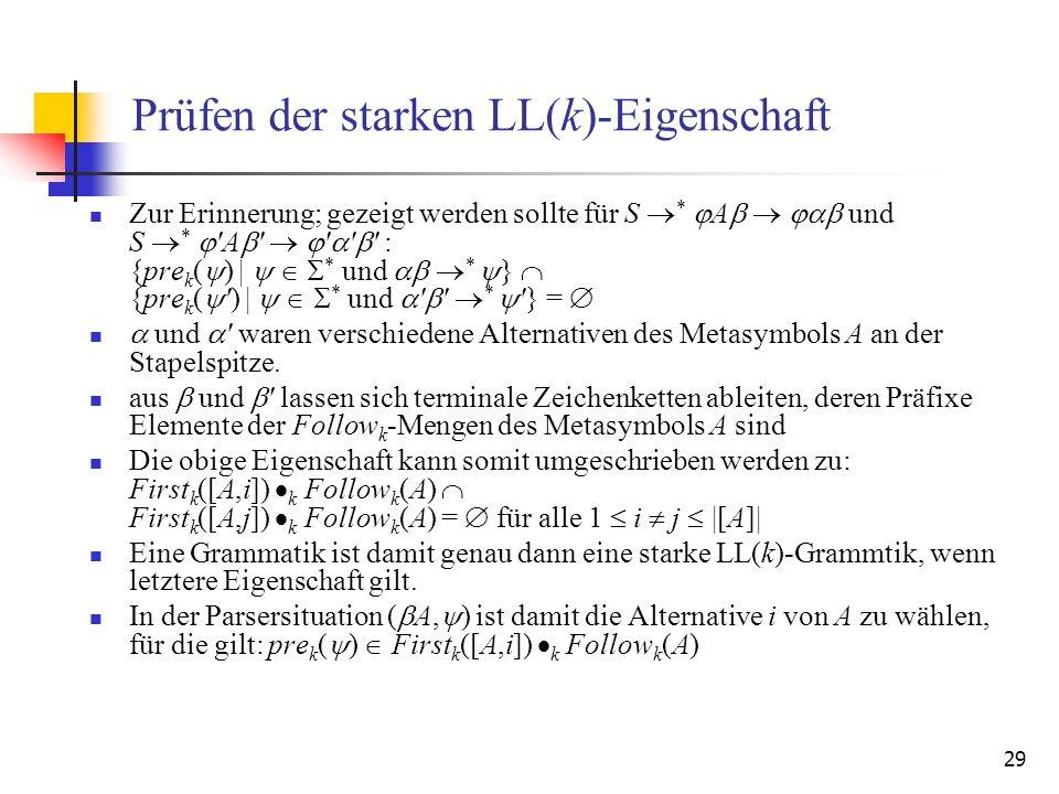 Prüfen der starken LL(k)-Eigenschaft