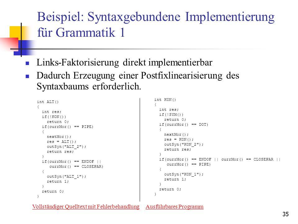 Beispiel: Syntaxgebundene Implementierung für Grammatik 1