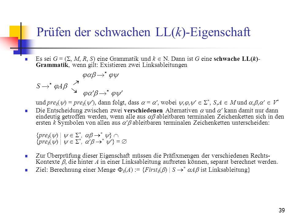 Prüfen der schwachen LL(k)-Eigenschaft