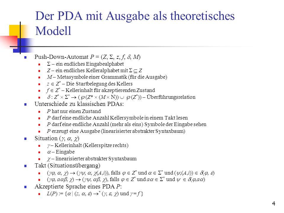 Der PDA mit Ausgabe als theoretisches Modell
