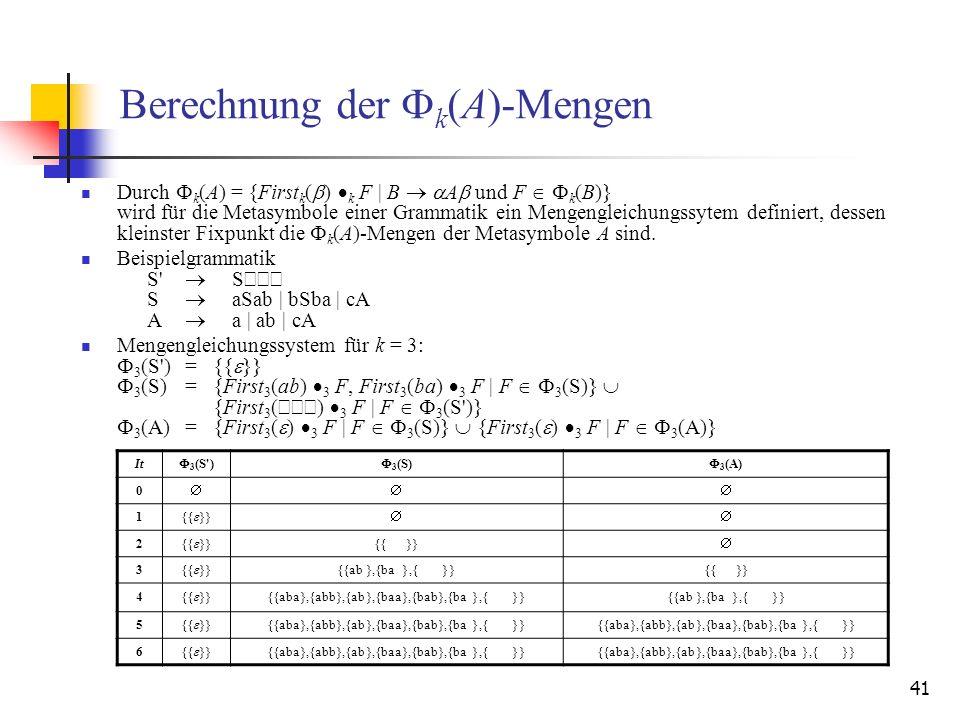 Berechnung der Fk(A)-Mengen