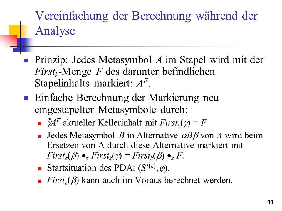 Vereinfachung der Berechnung während der Analyse