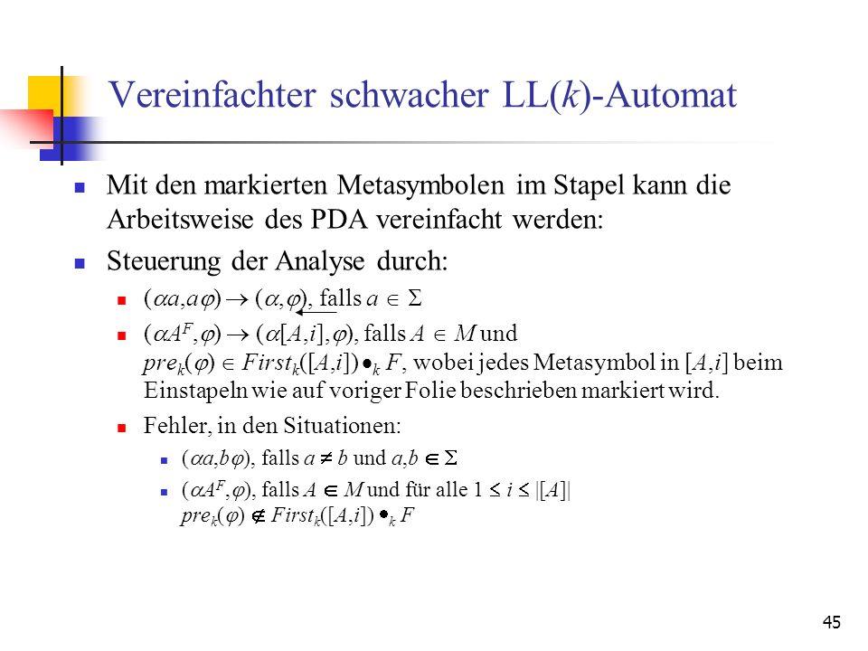 Vereinfachter schwacher LL(k)-Automat