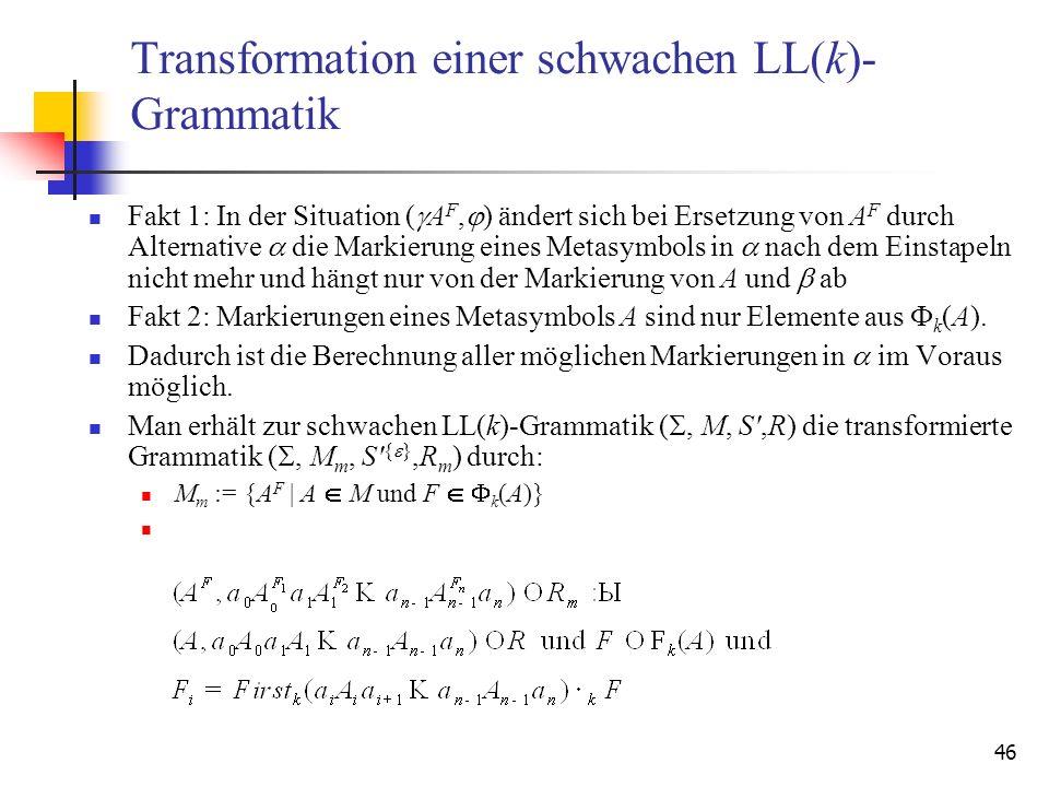 Transformation einer schwachen LL(k)-Grammatik