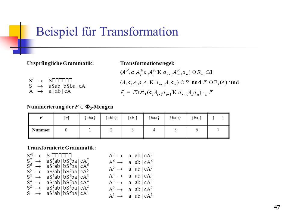 Beispiel für Transformation
