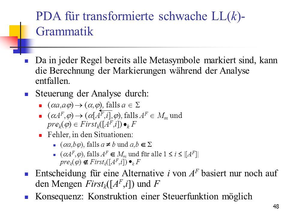 PDA für transformierte schwache LL(k)-Grammatik