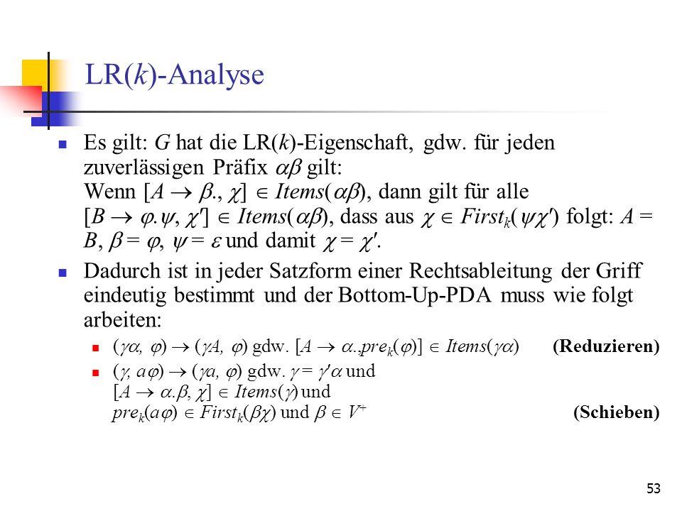 LR(k)-Analyse