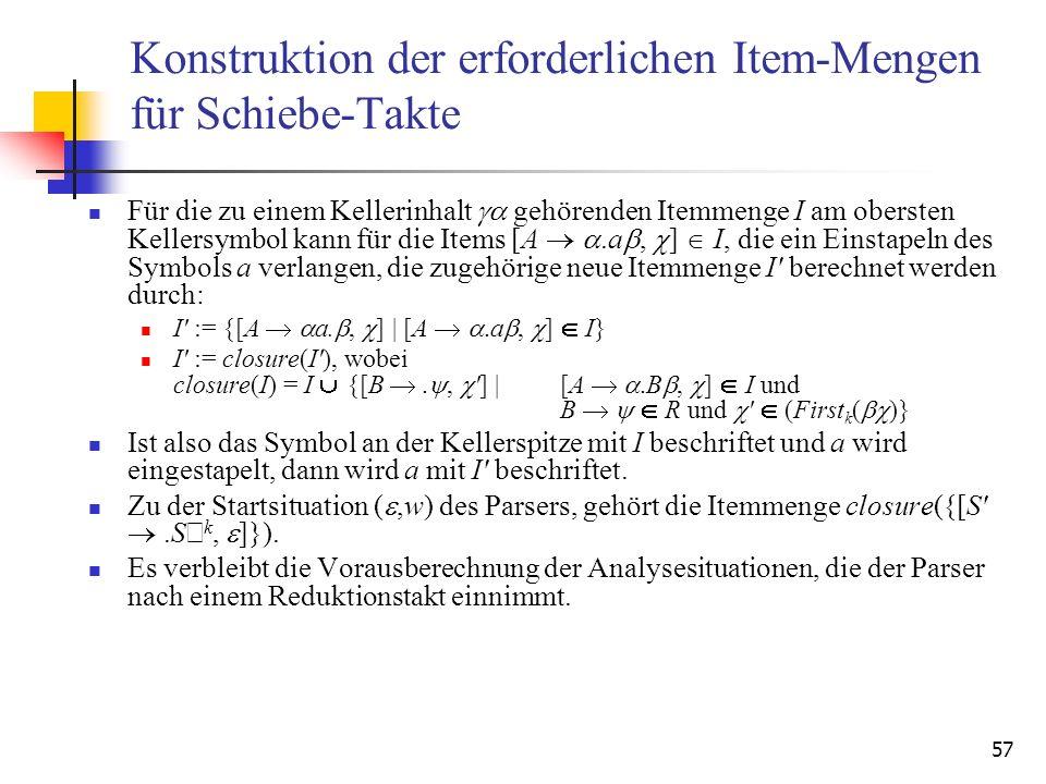 Konstruktion der erforderlichen Item-Mengen für Schiebe-Takte