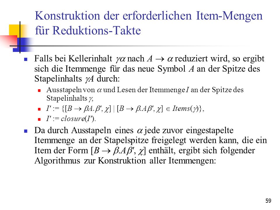 Konstruktion der erforderlichen Item-Mengen für Reduktions-Takte