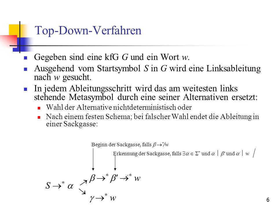 Top-Down-Verfahren Gegeben sind eine kfG G und ein Wort w.