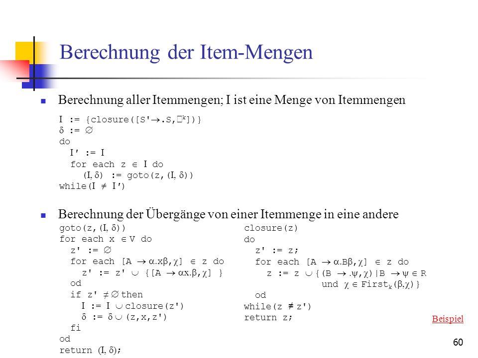 Berechnung der Item-Mengen