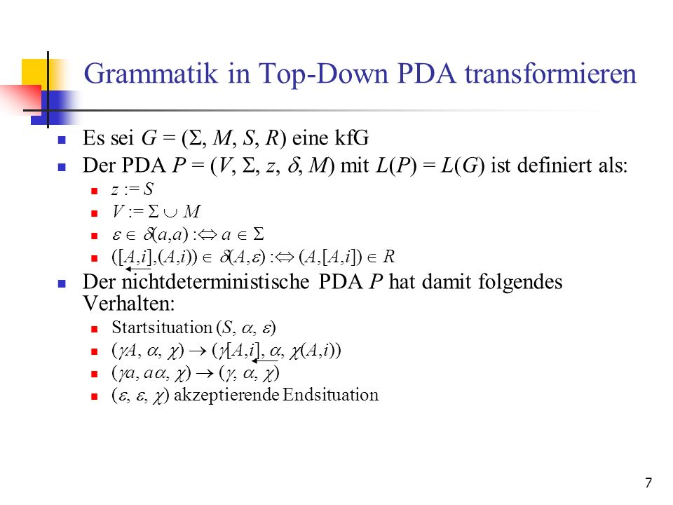 Grammatik in Top-Down PDA transformieren