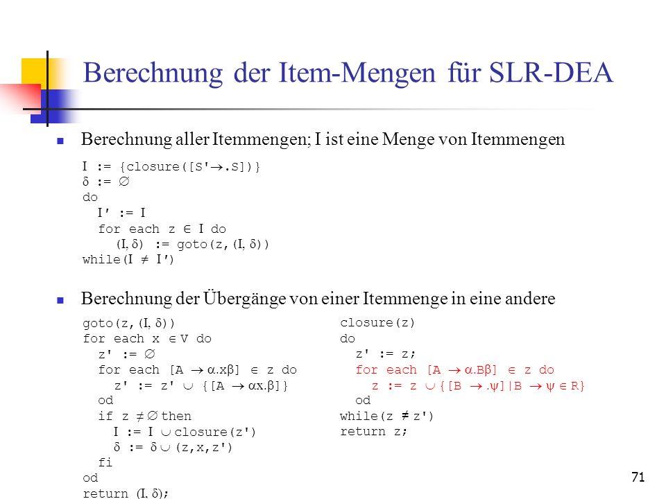 Berechnung der Item-Mengen für SLR-DEA