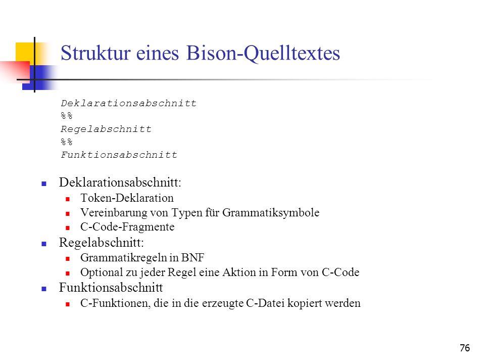 Struktur eines Bison-Quelltextes