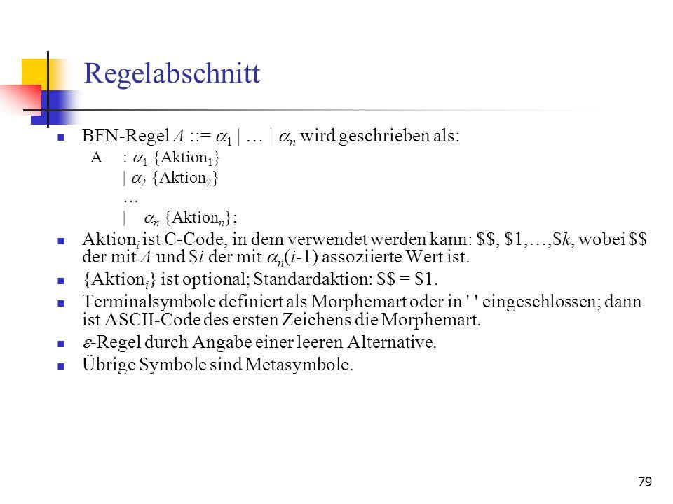 Regelabschnitt BFN-Regel A ::= 1 | … | n wird geschrieben als:
