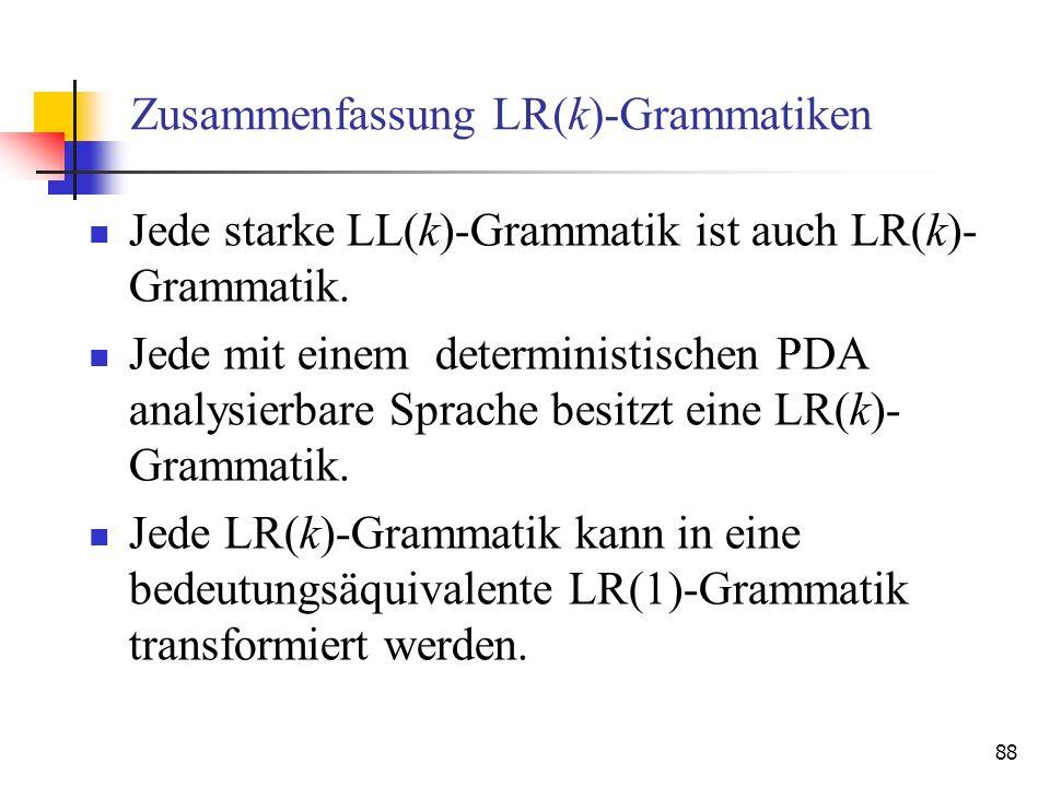 Zusammenfassung LR(k)-Grammatiken