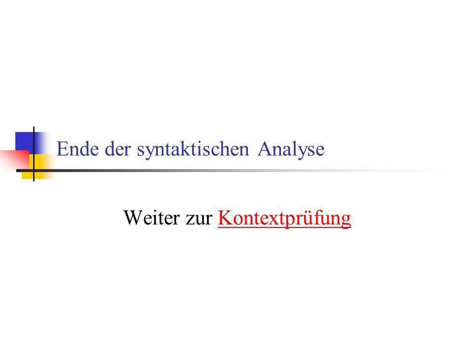 Ende der syntaktischen Analyse