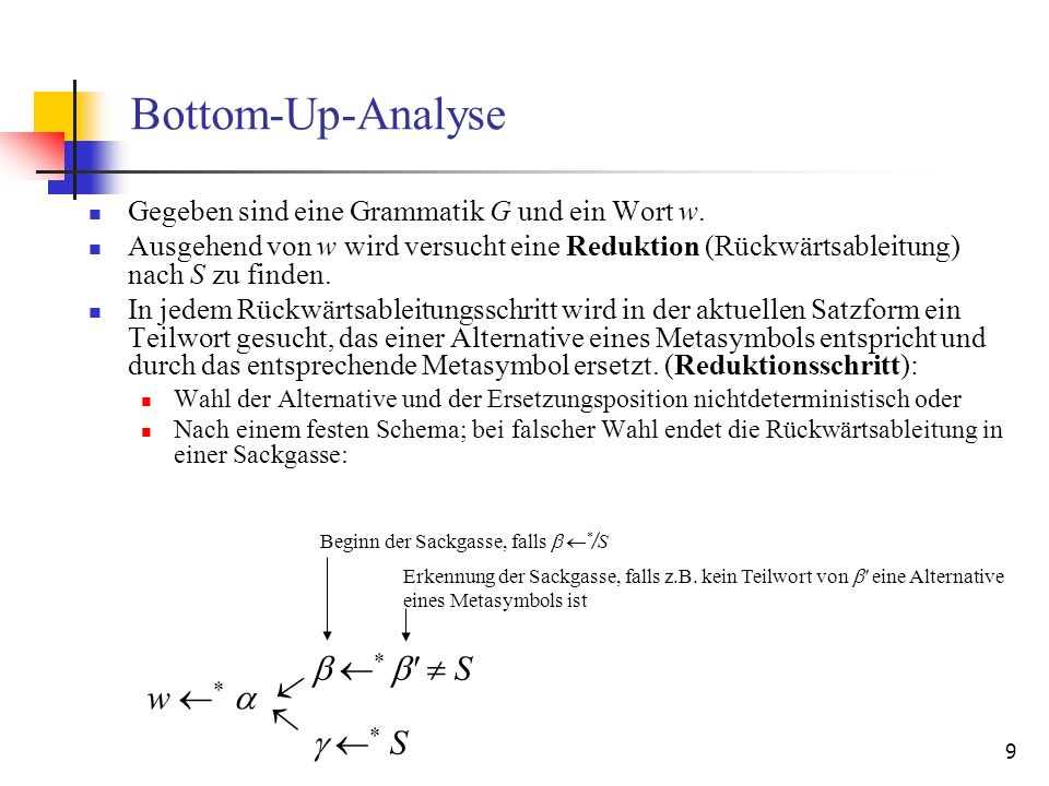 Bottom-Up-Analyse  *   S  w *    * S