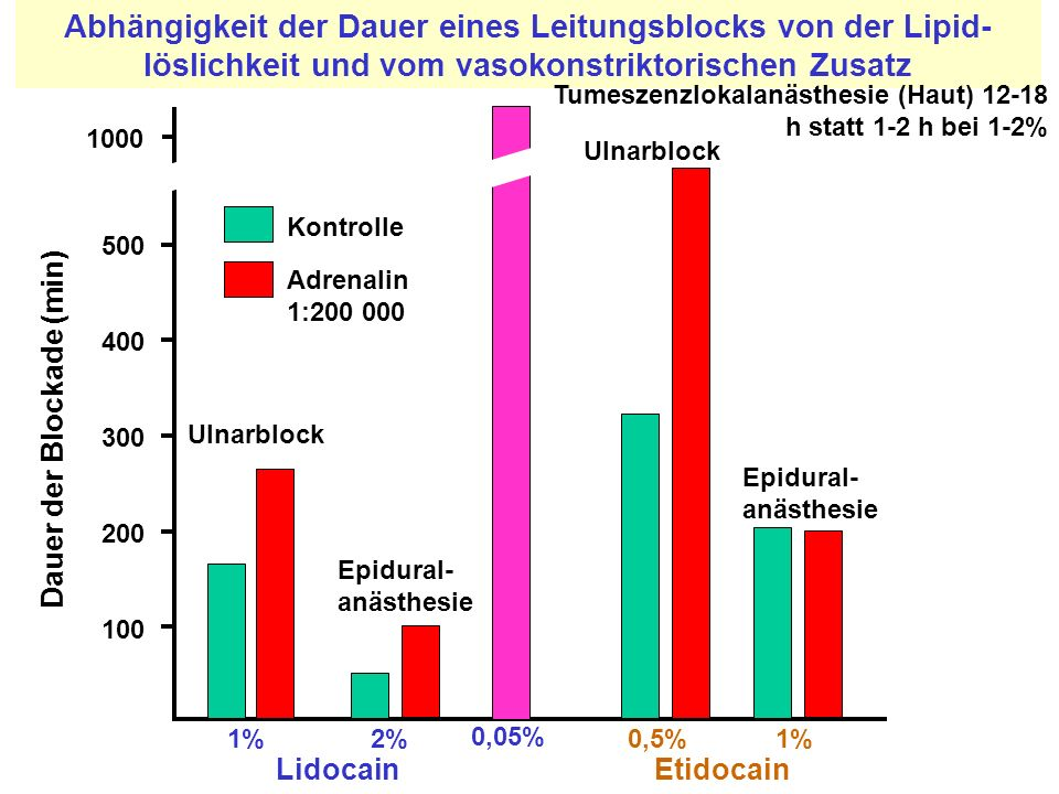 Abhängigkeit der Dauer eines Leitungsblocks von der Lipid-löslichkeit und vom vasokonstriktorischen Zusatz