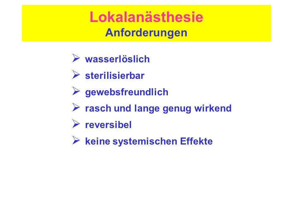 Lokalanästhesie Anforderungen