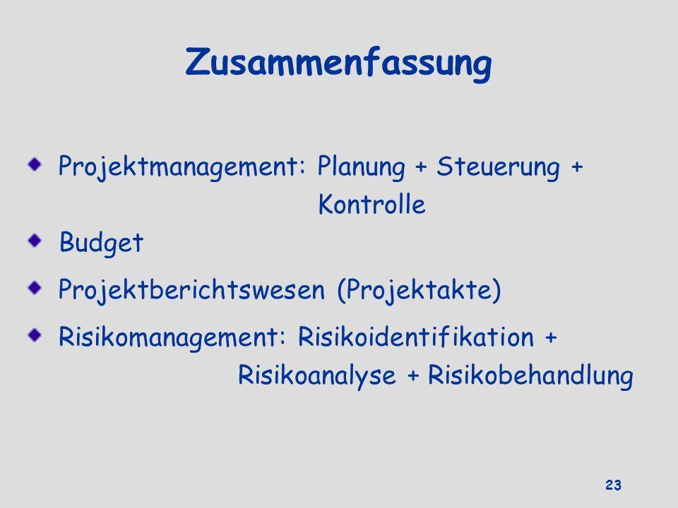Zusammenfassung Projektmanagement: Planung + Steuerung + Kontrolle