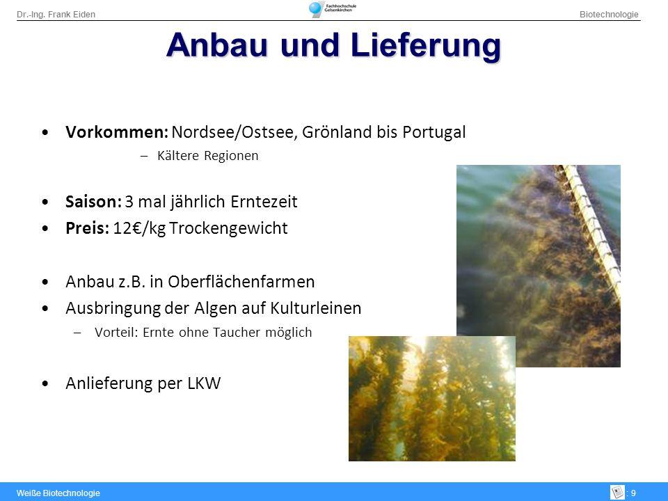 Anbau und Lieferung Vorkommen: Nordsee/Ostsee, Grönland bis Portugal