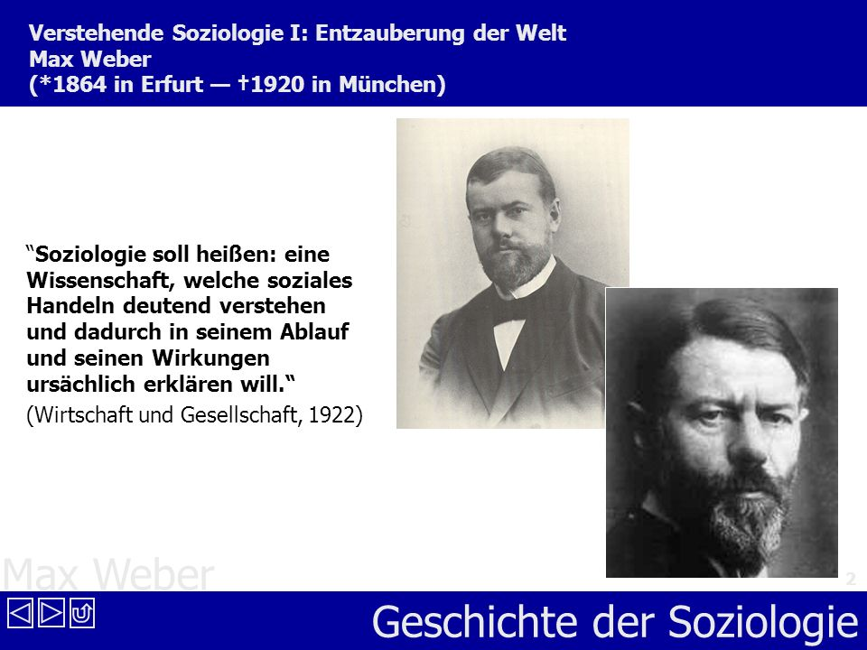 Verstehende Soziologie I: Entzauberung der Welt Max Weber (