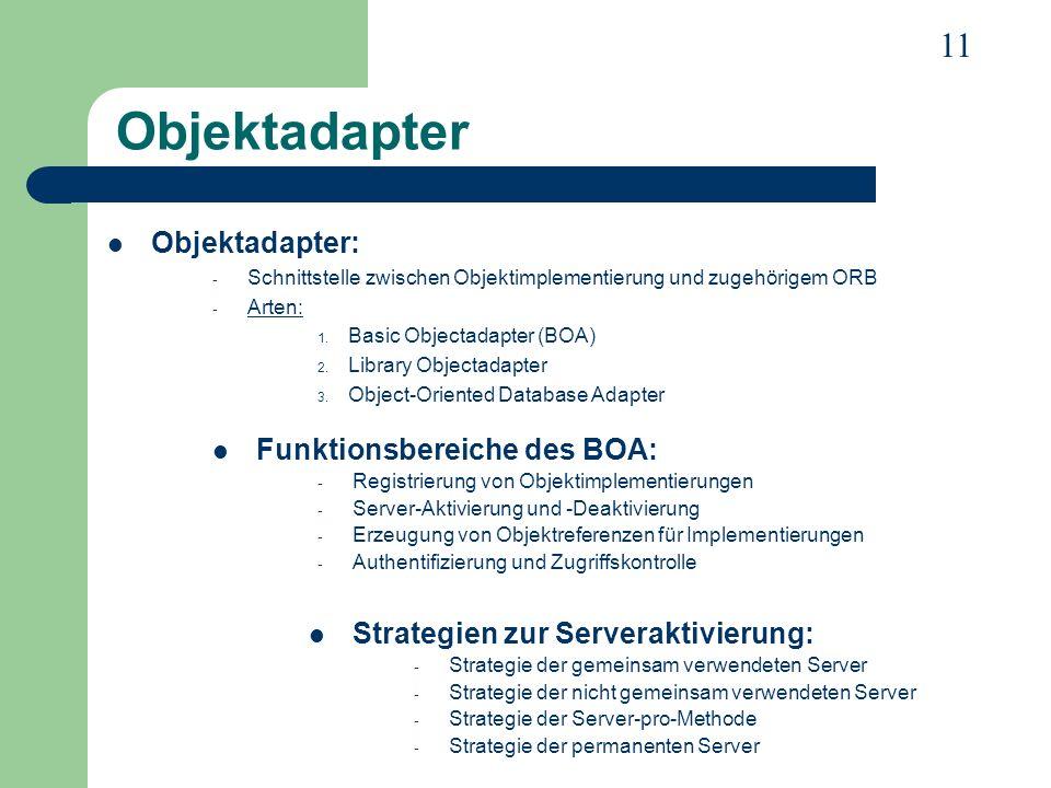 Objektadapter Objektadapter: Funktionsbereiche des BOA: