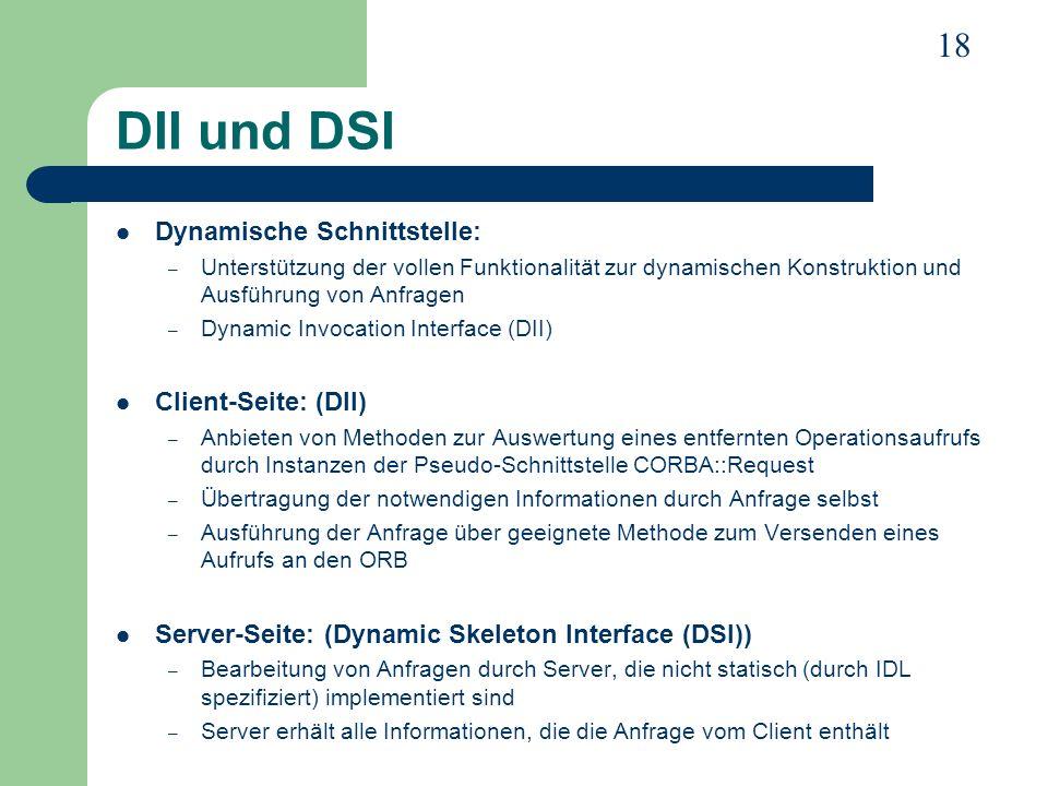 DII und DSI Dynamische Schnittstelle: Client-Seite: (DII)