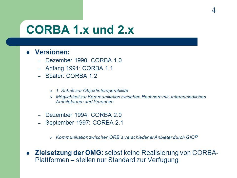 CORBA 1.x und 2.x Versionen: