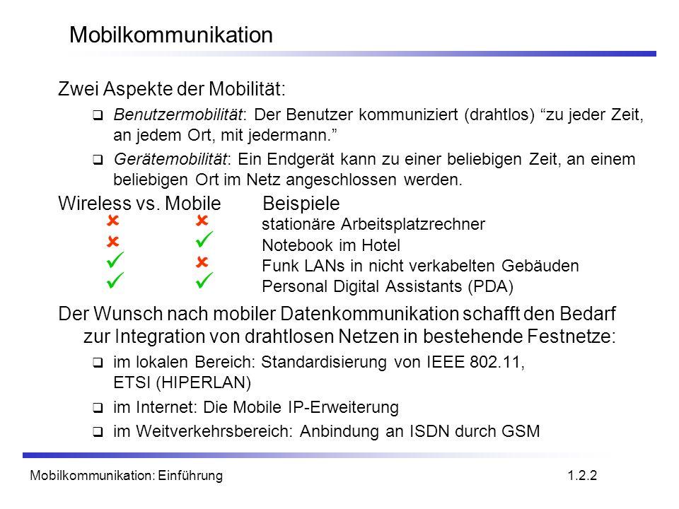 Mobilkommunikation Zwei Aspekte der Mobilität: