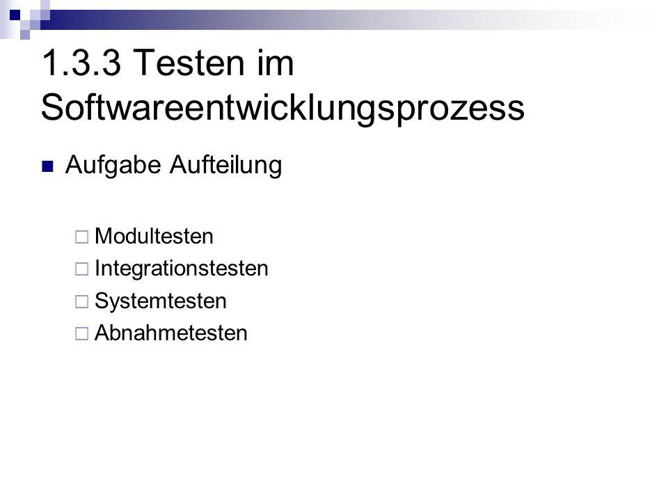 1.3.3 Testen im Softwareentwicklungsprozess