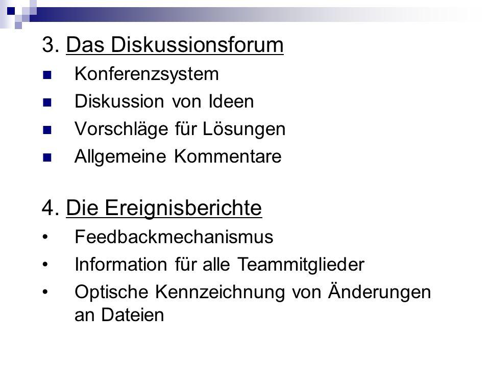 3. Das Diskussionsforum 4. Die Ereignisberichte Konferenzsystem