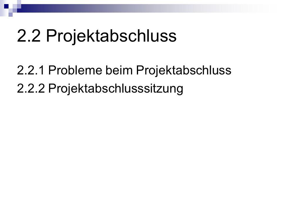 2.2 Projektabschluss 2.2.1 Probleme beim Projektabschluss