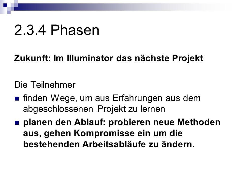 2.3.4 Phasen Zukunft: Im Illuminator das nächste Projekt