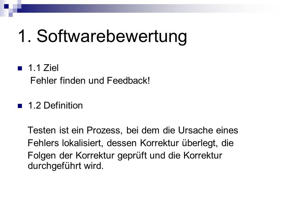1. Softwarebewertung 1.1 Ziel Fehler finden und Feedback!