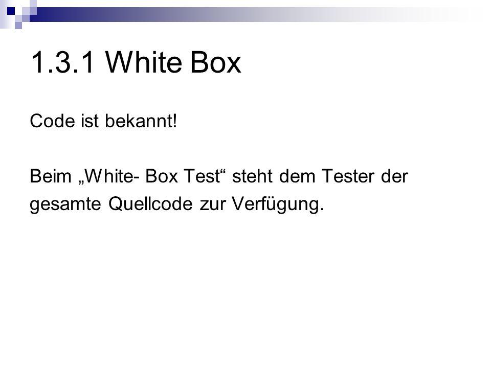 1.3.1 White Box Code ist bekannt!